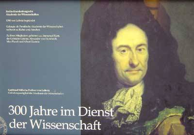Porträtmalerei Gottfried Wilhelm Freiherr von Leibnitz, Aufschrift 300 Jahre im Dienst der Wissenschaft.
