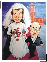 Abbild eines Gemäldes. Darauf eine Karikatur eines Brautpaares. Die Braut ist wesentlich größer als der Bräutigam.