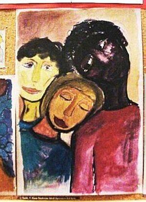 Aquarellzeichnung. Drei Personen legen ihre Köpfe zusammen, eine ist weiß, eine schwarz und eine dritte mit gelben Unterton.