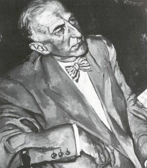 Schwarz Weiß Gemälde eines Mannes.