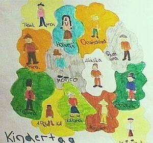 Ein gemaltes Bild eines Kindes. Es stellt eine Landkarte mit mehreren Ländern dar und Personen, die in diesen wohnen.