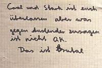 """Ein Zettel mit handgeschriebenem Text. Darauf steht: """"Cool und Stark ist euch überlassen aber was gegen Auslender zusagen ist nicht OK. Das ist Brutal"""""""