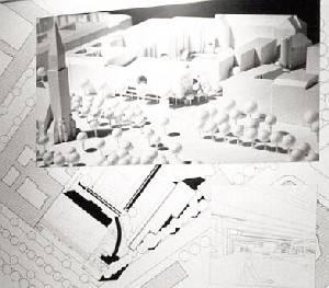 Schwarz Weiß Abbildung eines Modells.