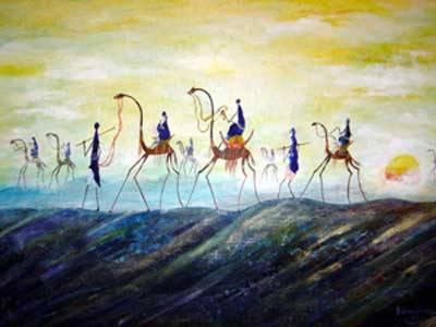 Ein gemaltes Bild von Menschen, die auf Kamelen durch die Wüste reiten.