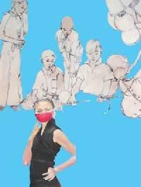 Kunst. Ausgeschnitte Figuren auf blauen Hintergrund. Im Vordergrund eine Frau im schwarzen Kleid mit einem roten Nase-Mund-Schutz.