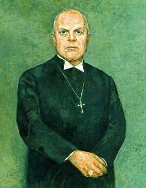 Gemälde eines Geistlichen. Grüner Hintergrund.
