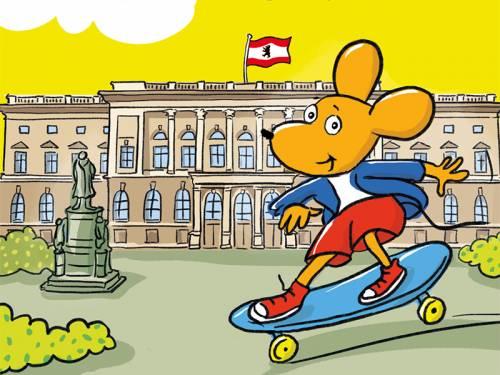Eine Comiczeichnung von einer Maus die Skateboard fährt. Im Hintergrund das Abgeordnetenhaus Berlin mit Berliner Flagge.