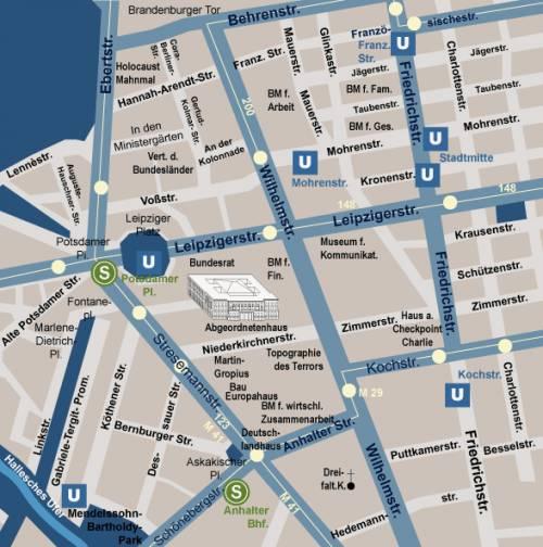 Ausschnitt einer Karte mit Lageplan des Abgeordnetenhaus Berlin.