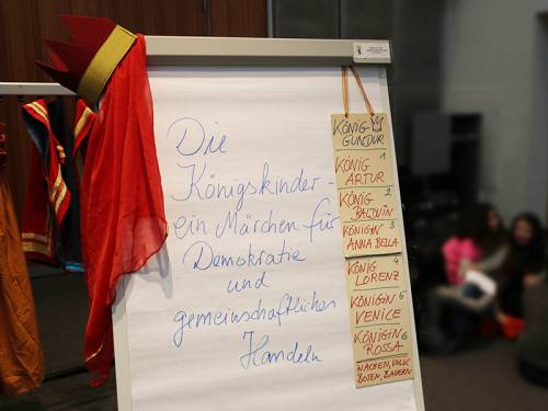 An einem Flipchart zum Demokratiespiel hängt eine gebastelte Krone.
