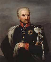 Gemälde eines älteren Mannes in alter militärischer Uniform und Abzeichen.