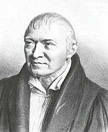 Schwarz Weiß Zeichnung eines alten Mannes in dunkler Kleidung.