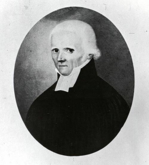 Schwarz Weiß Zeichnung eines alten Mannes mit weißen Haaren, in hochgeschlossener Kleidung.