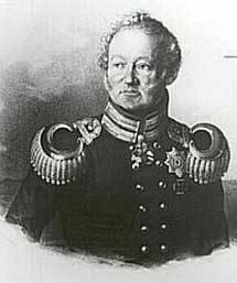 Schwarz Weiß Zeichnung eines älteren Mannes in alter militärischer Uniform. Er schaut zur Seite weg.