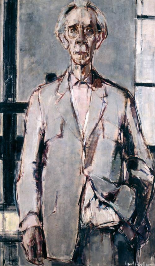 Gemälde eines älteren Mannes mit weißen Schnurrbart, weißen Haaren und runder Brille. Er steht, eine Hand hängt locker herunter, die andere hat er in die Anzughose gesteckt.