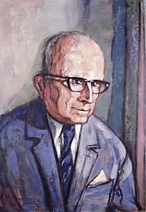 Gemälde eines älteren Mannes im blauen Anzug. Er hat eine Halbglatze und trägt eine dunkle Brille.