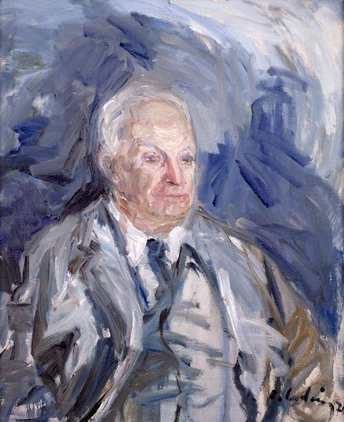 Gemälde in Blautönen. Man erahnt einen alten Mann im Anzug und weißen Haaren, der zur Seite schaut.