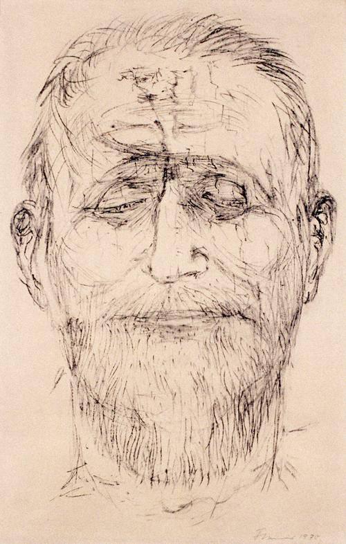 Strichzeichnung eines alten Mannes.
