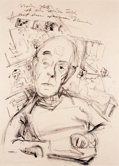 Strichzeichnung eines älteren Mannes, der am Schreibtisch sitzt.
