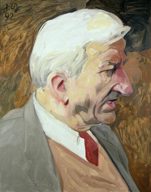 Gemälde eines Mannes im seitlichen Profil. Seine Haare sind weiß. Er trägt ein graues Jackett, einen brauen Pullunder, ein weißes Hemd und eine rote Krawatte.