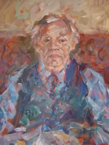 Gemälde eines älteren Mannes mit blauen Hemd und dunkelblauer Weste. Er hat weiße Haare.