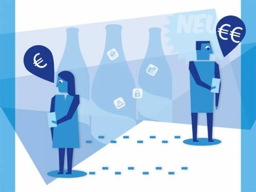 Illustration in Blautönen. Eine abstrakte Darstellung eines Mannes und einer Frau, die ein Handy in der Hand halten. Neben ihnen sind Sprechblasen, die das € Zeichen enthalten.