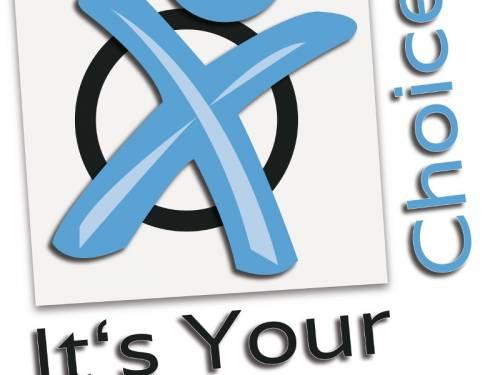 """Grafik mit einem Kreis und einem Strichmännchen, was eine Stimmabgabe symbolisiert. Daneben Text: """"It's your choice"""""""