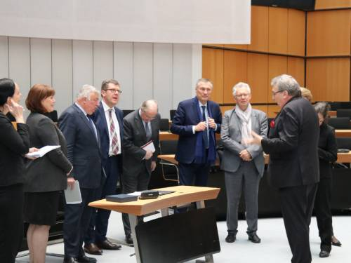 Ralf Wieland spricht zu einer Gruppe von Menschen im Plenarsaal.
