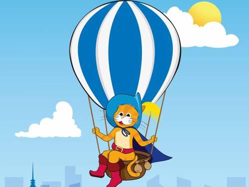 Comiczeichnung einer Katze (Gestiefelter Kater) der mit einem Heißluftballon über einer Stadt fährt
