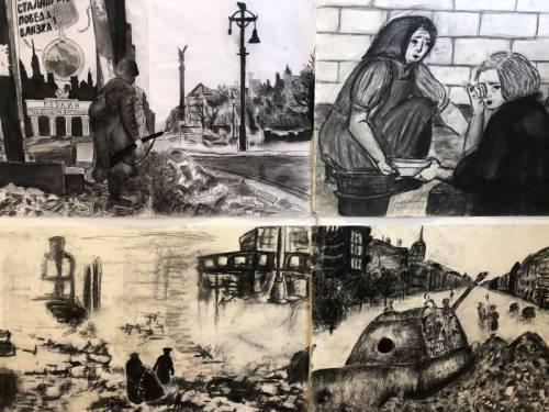 Kohlezeichnungen, die Berlin nach dem Ende des Krieges zeigen