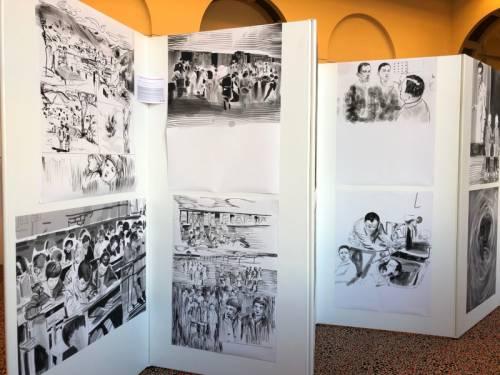 Poster Ausstellung auf mobilen Wänden