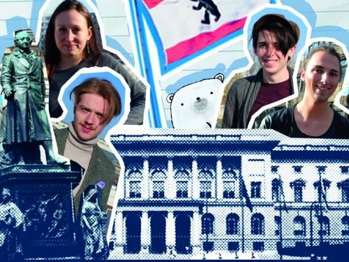 Eine Collage von verschiedenen jungen Menschen, der Berliner Flagge, einem Eisbären, einer Statue und dem Abgeordnetenhaus Berlin.