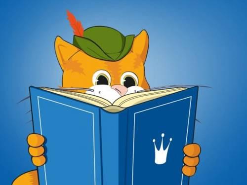Grafik einer Katze (Gestiefelter Kater), die in einem Märchenbuch liest