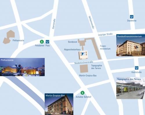 Grafik mit Lageplan des Abgeordnetenhaus Berlin