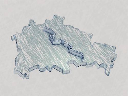 Zeichnung eines geteilten Berlins