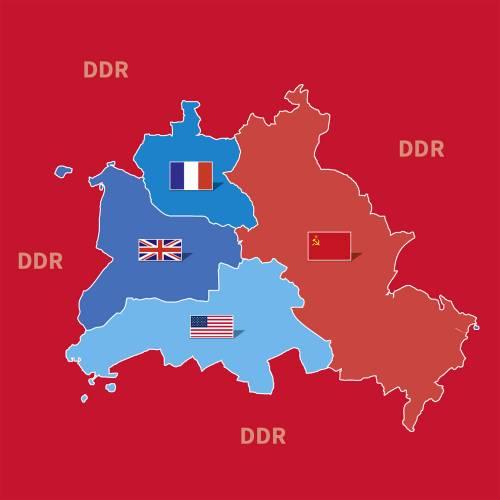 Roter Hintergrund, darauf eine Zeichnung von Berlin mit den Abschnitten der Alliierten