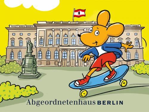 """Titelbild der Broschüre """"Mit Saus und Braus durchs Abgeordnetenhaus"""""""